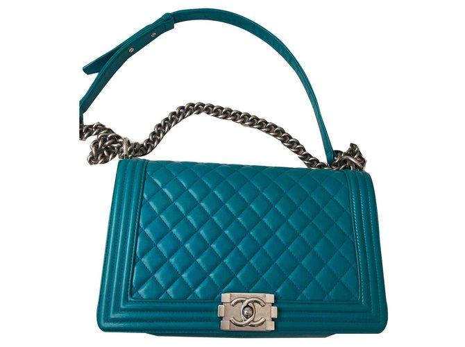fdd4799040c376 Chanel Boy Handbags Leather Blue,Light blue,Turquoise ref.116637 ...