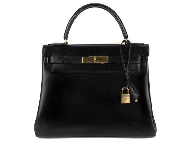 Sacs à main Hermès Hermès Kelly 28 en cuir box noir, bijouterie or en très bon état ! Cuir Noir ref.116874