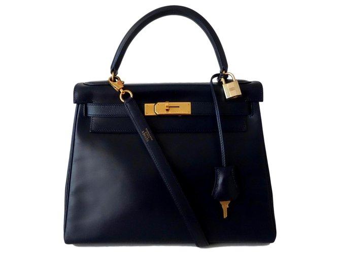 Hermès Hermes Kelly bag 28 Handbags Leather Navy blue ref.116989