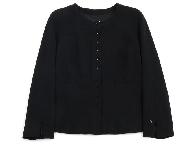 Chanel black crepe38 Jackets Wool Black ref.116993