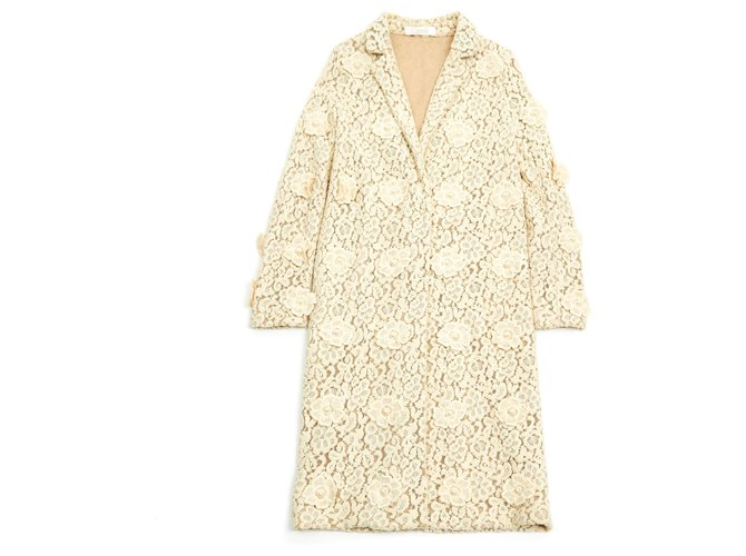 Chloé SPRING FLOWER COAT FR38/40 Coats, Outerwear Cotton Cream ref.117115