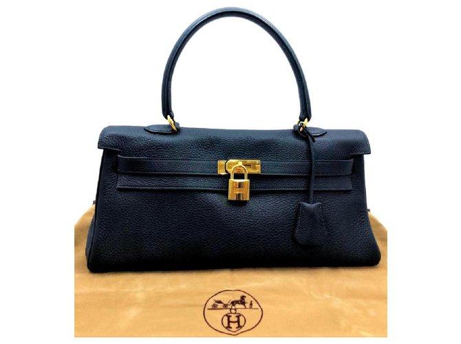 Sacs à main Hermès Hermes Blue Shoulder Kelly avec GHW Cuir Bleu foncé ref.117177