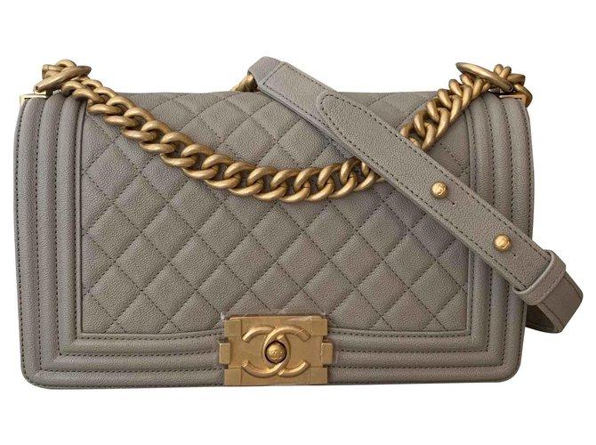Chanel Medium Le Boy Flap Bag Handbags Leather Grey ref.117204