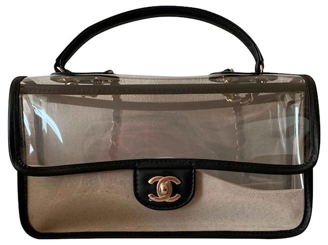 ff170957c1df0 Chanel Coco Sand PVC Flap Bag Handbags Plastic Black ref.117205 ...