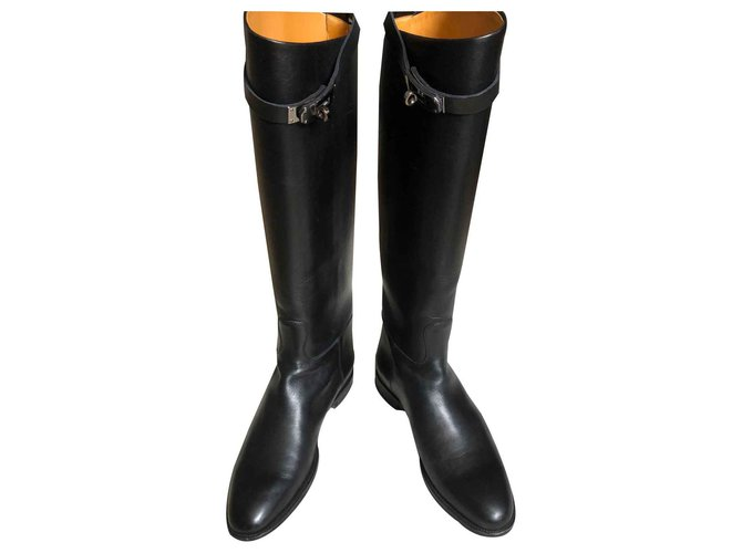 Hermès Jumping boots Boots Leather Black ref.169845