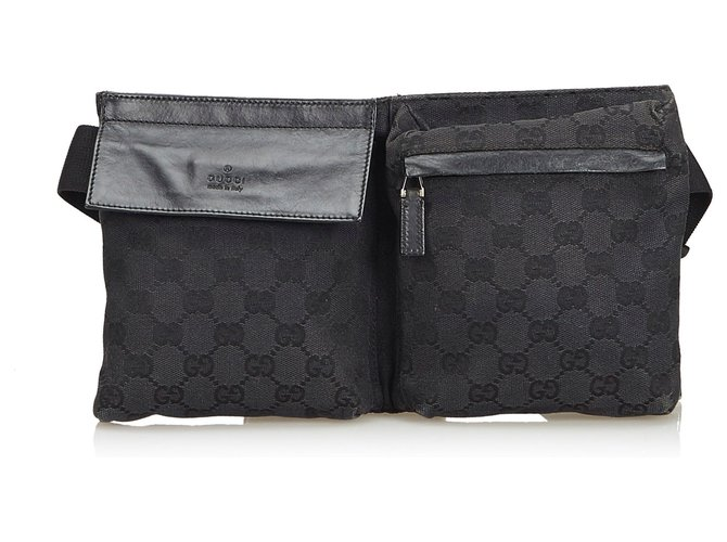 fafab1327 Gucci Gucci Black GG Jacquard Belt Bag Clutch bags Leather,Other,Cloth Black  ref