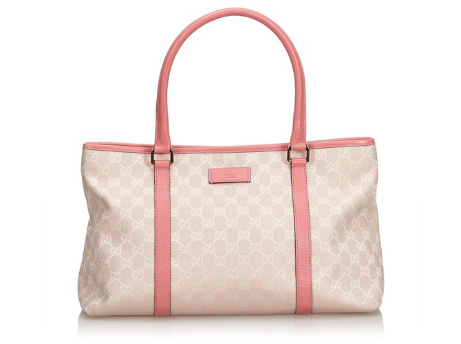 Cabas Gucci Gucci Pink GG Jacquard Sac cabas Cuir,Autre,Tissu Rose,Blanc,Autre,Écru ref.117473