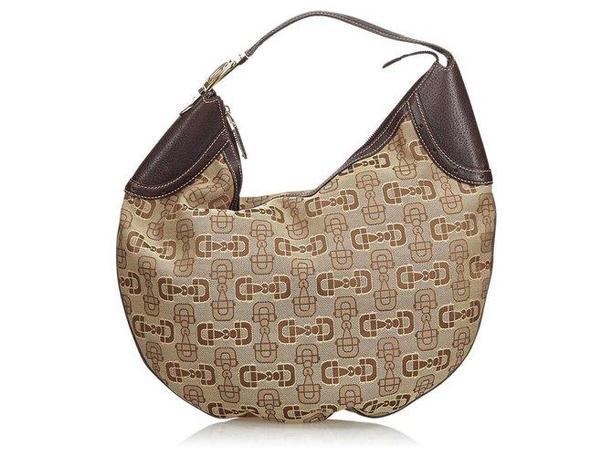 7fa085c62 Gucci Gucci Brown Jacquard Horsebit Hobo Bag Handbags Leather,Other,Cloth  Brown,Beige