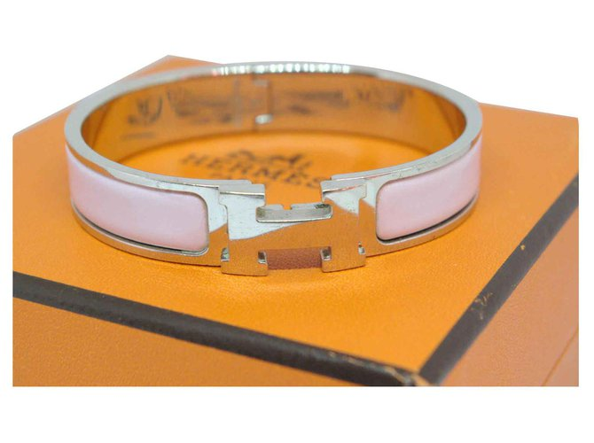Hermès Click H Bracelets Steel Silvery,Pink ref.117739