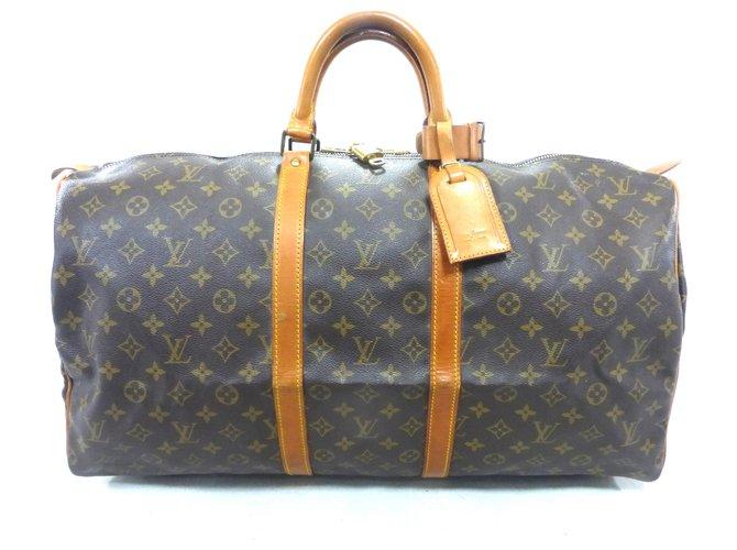 Sacs de voyage Louis Vuitton KEEPALL 55 MONOGRAM Cuir Marron ref.117830