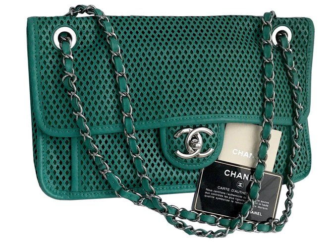 874708cb1779 Chanel flap bag 30 cm Up in the Air Handbags Leather Green ref.117997