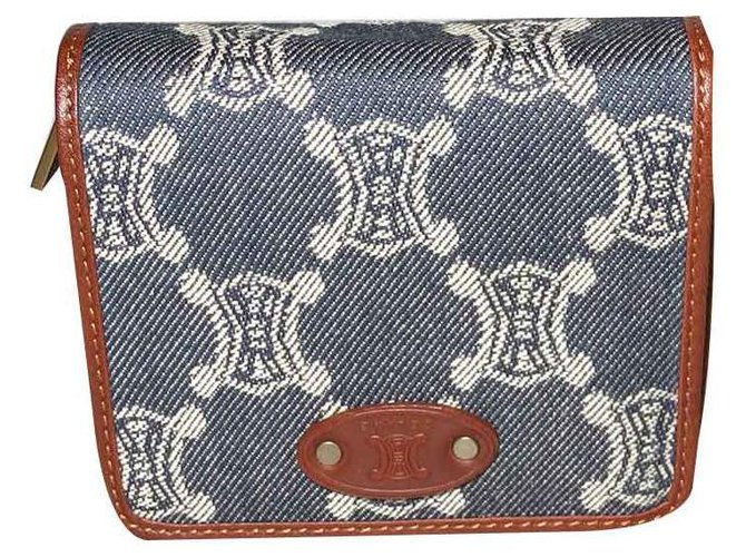 Céline Purses, wallets, cases Purses, wallets, cases Leather,Cloth Blue,Dark brown ref.118028