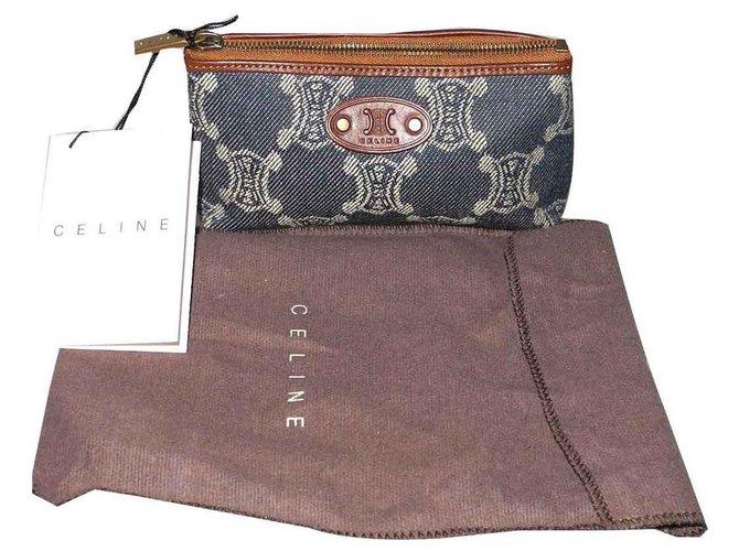 Céline Purses, wallets, cases Purses, wallets, cases Leather,Cloth Blue,Dark brown ref.118031