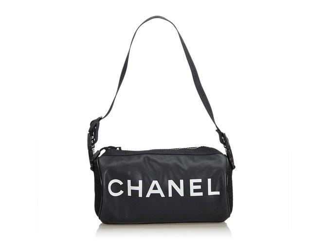 Chanel Black Sport Line Mini Duffle Bag White Nylon Cloth  ref.118200