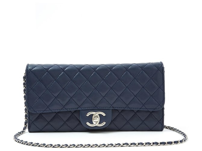 Chanel WALLET ON CHAIN WOC NAVY SILVER Handbags Leather Navy blue ref.118366