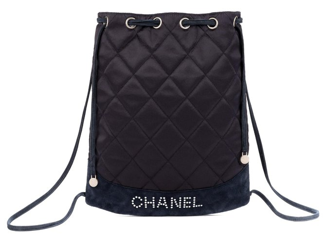 5faa8db4586f Chanel Chanel backpack in satin and navy suede, Chanel logo in pearls, good  condition