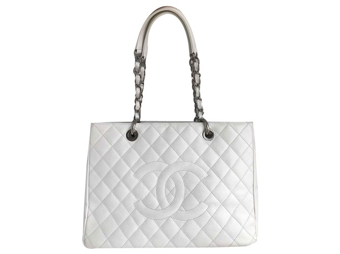 cdac2204098b Chanel GST Grand Shopping Tote 34cm in caviar leather Handbags Leather White  ref.118450