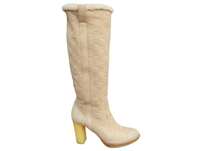 62a6d03f1 Gucci Gucci boots in sheep returned (shearling) Boots Deerskin Eggshell  ref.118871