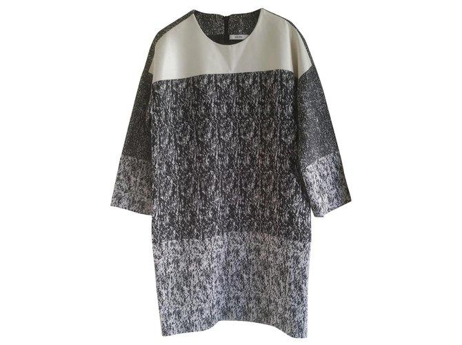 Céline Celine black & white raffia-effect jacquard dress. Dresses Cotton Grey ref.118878