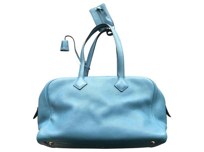 Hermès Victoria Handbags Leather Light blue ref.118931