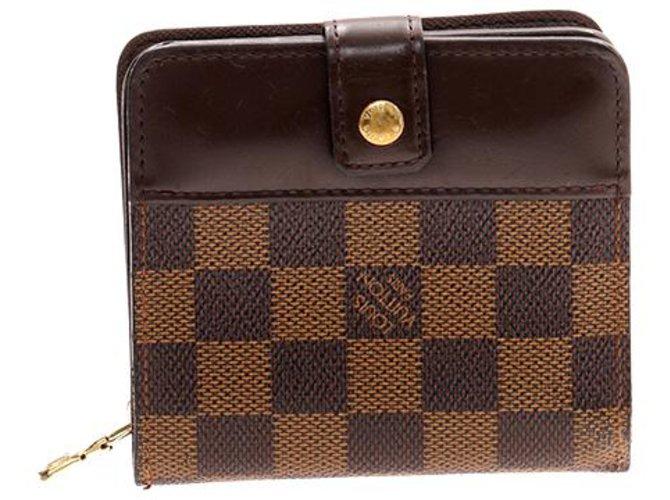 fa46eb313608 Louis Vuitton Louis Vuitton Brown Damier Ebene Compact Zip Wallet Misc  Cloth Brown ref.119014