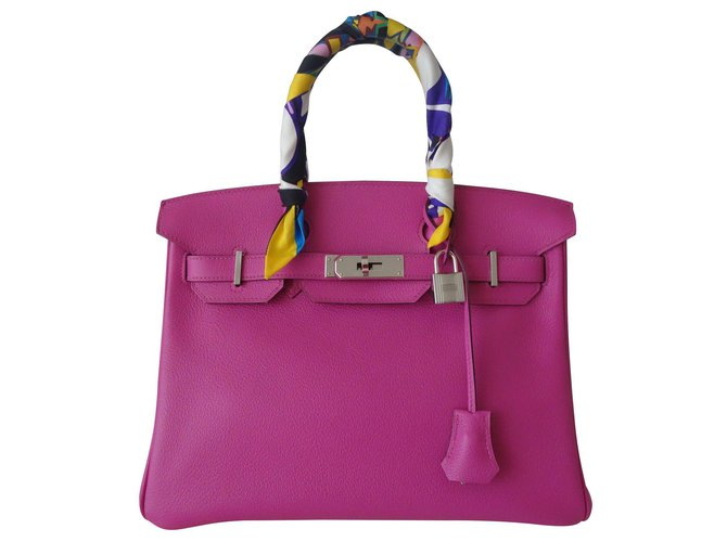 Hermès HERMES BIRKIN BAG 30 MAGNOLIA Handbags Leather Pink ref.119101
