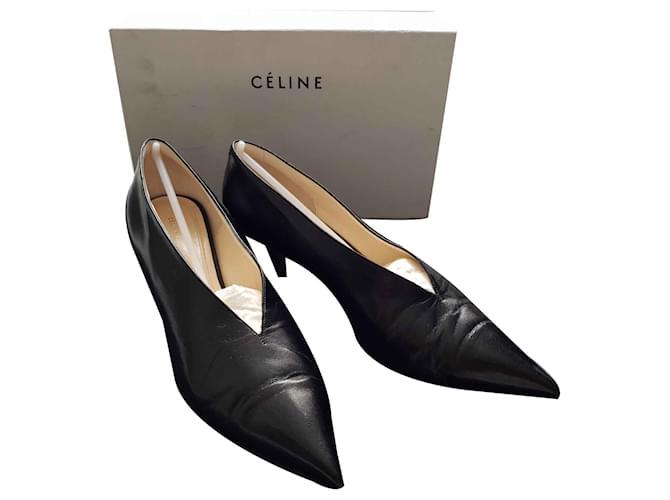 Céline V Neck Pump 50 MM Heels Leather Black ref.119290