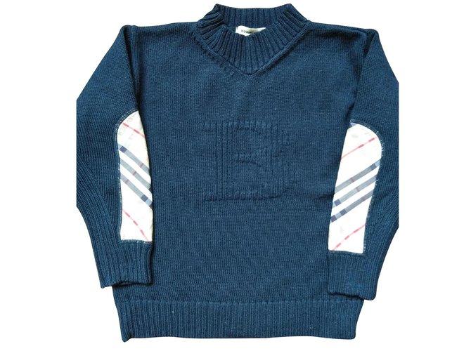 Burberry LOGO Boy Coats Outerwear Wool Navy blue ref.119408