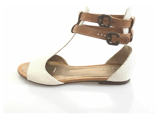 Chloé Chloe White Woven Leather Sandal Sandals Leather,Other Brown,White,Light brown ref.119501