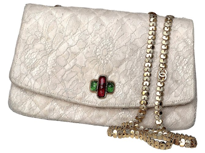 bfbba4e8f121 Chanel Gripoix crystals flap vintage bag Handbags Silk,Lace Beige,Cream  ref.119623