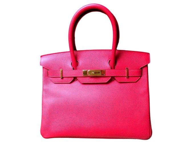 Hermès HERMES BIRKIN 30 Handbags Leather Pink ref.119703