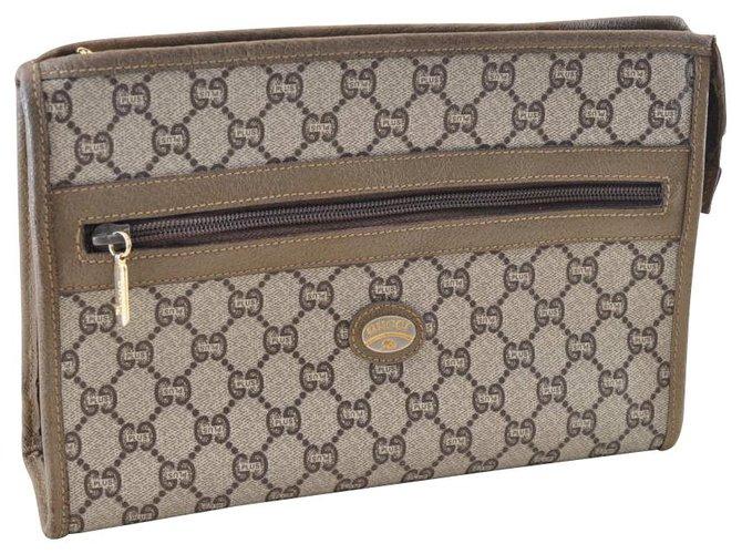 Pochettes Gucci Gucci Sherry Line GG Pochette Toile Marron ref.119724