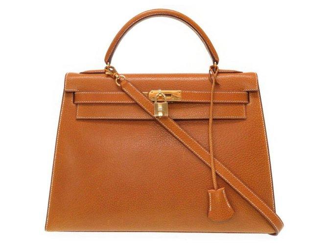 Sacs à main Hermès Hermes Brown Pigskin Kelly 32 Cuir,Autre Marron ref.119820
