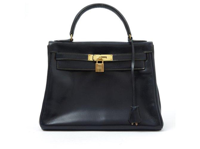 Sacs à main Hermès KELLY 28 NAVY BOX Cuir Bleu Marine ref.119944