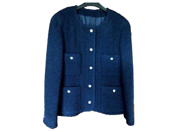 Chanel Vintage Chanel T Jacket40 Jackets Wool Navy blue ref.119980