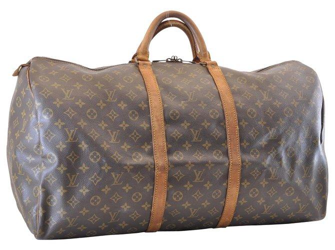 41a37eebc86d Sacs de voyage Louis Vuitton Louis Vuitton Keepall 60 Toile Marron  ref.120017