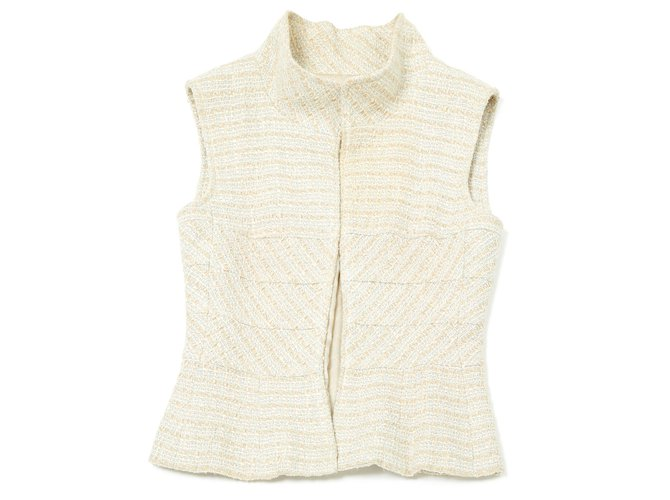 Chanel SUMMER TWEED FR38 Jackets Tweed Cream ref.120020