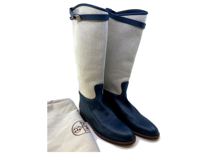Hermès Jumping boots Boots Leather,Cloth Blue,Cream ref.120028