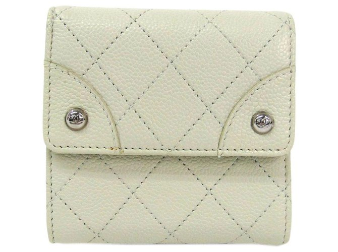 Chanel Chanel White Caviar Hook Wallet Misc Leather White ref.120054