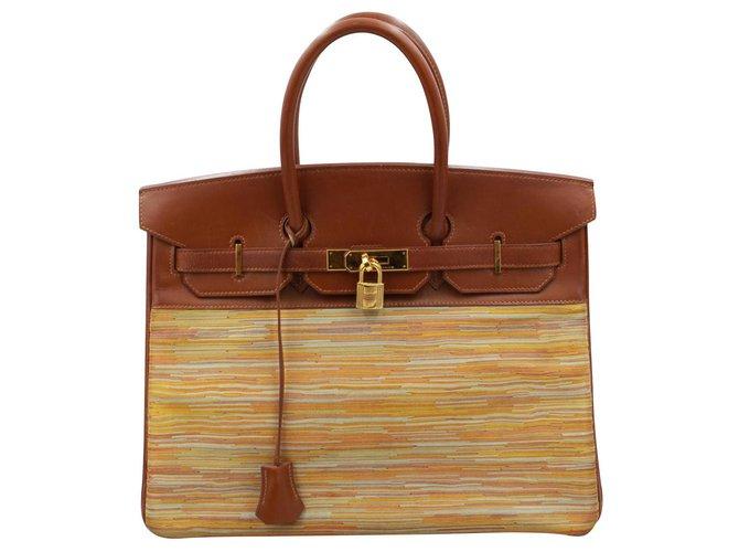 Hermès Birkin 35 Handbags Leather Brown ref.120217