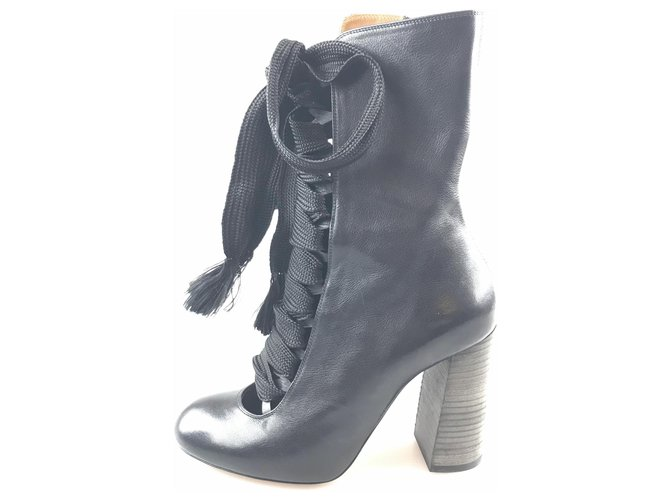 Chloé Chloe Black Leather Lace-Up Boot Ankle Boots Leather,Other Black ref.120257