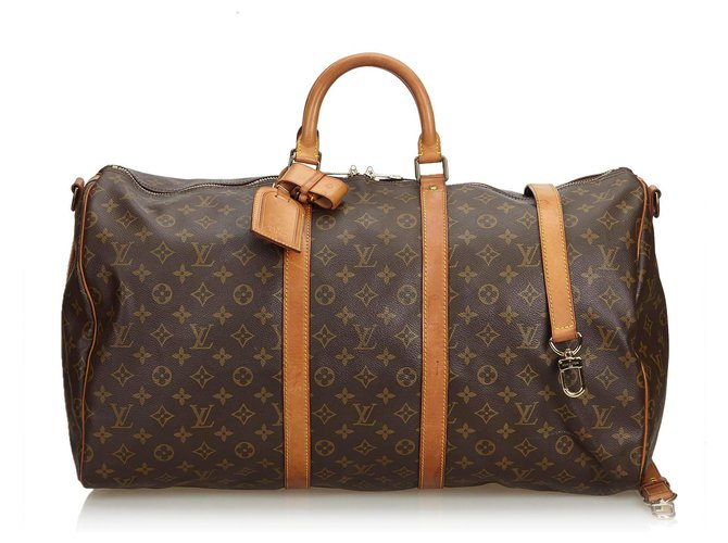 Sacs de voyage Louis Vuitton Bandoulière Keepall Louis Vuitton Monogram Marron 55 Cuir,Toile Marron ref.120499