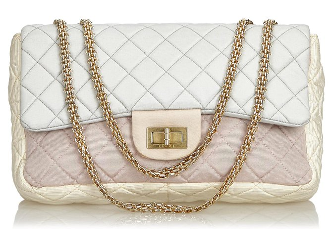 8dd43e9e2583 Chanel Chanel White Reissue Jumbo Nylon Flap Bag Handbags Other ,Metal,Nylon,Cloth