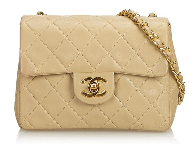 Chanel Chanel Brown Classic Mini Square Lambskin Leather Single Flap Bag Handbags Leather Brown,Beige ref.120545
