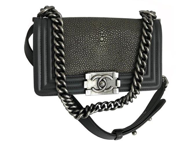 9b0f5c5b5db3 Chanel Stingray Boy Small Flap Bag Limited edition Handbags Leather,Exotic leather  Grey,Dark