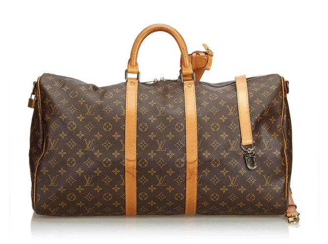 Sacs de voyage Louis Vuitton Bandoulière Keepall Louis Vuitton Monogram Marron 55 Cuir,Toile Marron ref.120673