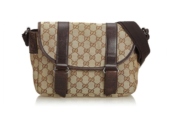 425ecb4bb Gucci Gucci Brown GG Jacquard Crossbody Bag Handbags Leather,Other,Cloth  Brown ref.