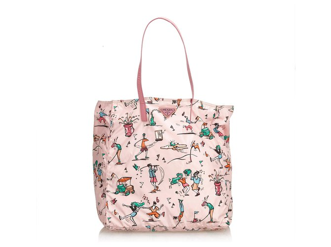 c31abe18191c Prada Prada Pink Printed Nylon Tote Bag Totes Leather,Other,Nylon,Cloth Pink