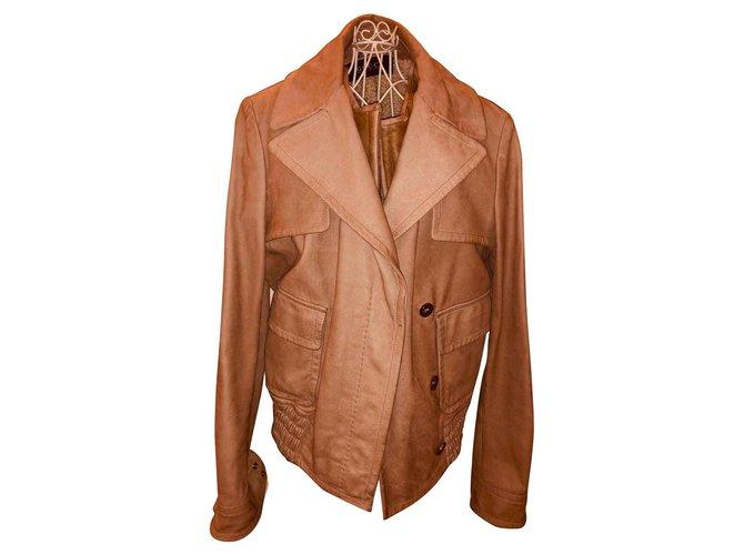Vestes Gucci Veste Gucci beige doré en cuir nubuck avec doublure logo et gilet mouton détachable Cuir Beige ref.120790