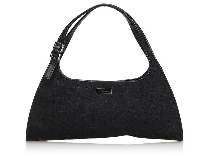 73c86cef9 Gucci Gucci Black Canvas Handbag Handbags Leather,Other,Cloth,Cloth Black  ref.